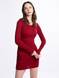 Gaine Robe Femme Décontracté / Quotidien / Soirée Sexy,Couleur Pleine Col Arrondi Au dessus du genou Manches ¾ Rouge / Noir LaineAutomne