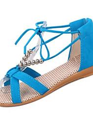 Women's Sandals Comfort Cashmere Summer Casual Walking Comfort Beading Low Heel Black Orange Beige Blue 2in-2 3/4in