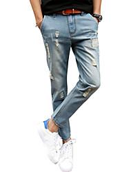 Homme simple Taille Normale Micro-élastique Jeans Pantalon,Sarouel Mince Couleur Pleine