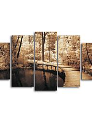 Tela de impressão Paisagem Tradicional,5 Painéis Tela Horizontal Impressão artística Decoração de Parede For Decoração para casa