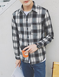 Men's Going out Holiday Simple Shirt,Striped Check Shirt Collar Long Sleeve Cotton