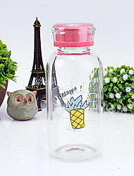 301-400ml Transparent Portable Glass Water Bottle