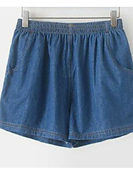 Women's High Rise strenchy Jeans Shorts Pants,Simple Loose Wide Leg Solid