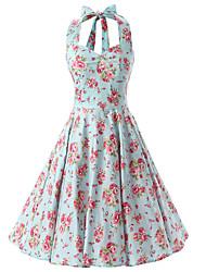 Women's Rockabilly Vintage Dress Mint Green Floral Halter Knee-length Sleeveless Cotton All Seasons Mid Rise