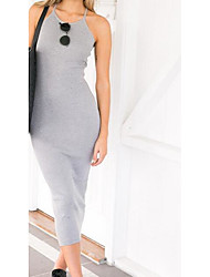 Women's Backless Going out Sexy Sheath Dress,Solid U Neck Knee-length Sleeveless Cotton Summer High Rise Micro-elastic Thin