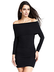 Women's Off The Shoulder Casual/Daily / Club Simple / Street chic Off-The-Shoulder Spring / Fall T-shirtSolid Boat Neck Long Sleeve