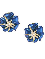 Жен. Серьги-гвоздики Мода Цветочный принт Позолота В форме цветка Бижутерия Назначение Для вечеринок День рождения Повседневные