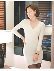 Women's Holiday A Line Dress,Color Block Round Neck Above Knee Long Sleeve Polyester All Seasons Low Rise Inelastic Medium
