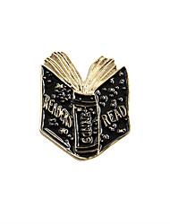 Fashion Trendy Metal Black Enamel Unfolded Book Readers Pin Brooch