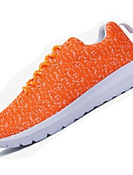 Unisex Sneakers Spring Summer Light Soles Tulle Outdoor Athletic Low Heel Lace-up Dark Blue Orange Black