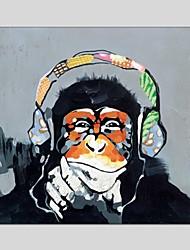 Pintada a mano Animal Cuadrado,Modern Clásico Un Panel Lienzos Pintura al óleo pintada a colgar For Decoración hogareña