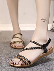 Для женщин Сандалии Удобная обувь Гладиаторы Полиэстер Весна Лето Для праздника Повседневный На эластичной ленте На плоской подошвеЧерный