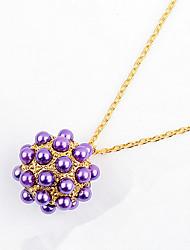 Ball Purple Pendant Sweater Chain Necklace Women Office Lady Jewelry for Women Bohemian British Gifts