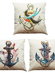Set of 3 Oil Painting Retro Anchor  Pattern  Linen Pillowcase Sofa Home Decor Cushion Cover