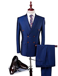 Suit Slim Fit Closure Collar Dubble Breasted Two-buttons Soild Colour 3 Pieces Blue