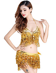 Belly Dance Outfits Women's Performance Sequined Tassel(s) 2 Pieces Sleeveless Natural Top Skirt