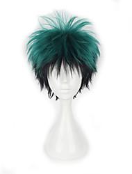 sem tampa anime o meu herói Midoriya izuku escuro encaracolado peruca cosplay sintética verde