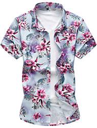 Men's Casual/Daily Beach Simple Active Summer Shirt,Floral Shirt Collar Short Sleeve Cotton Rayon Thin