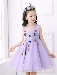 Ball Gown Short / Mini Flower Girl Dress - Cotton Satin Tulle Jewel with Appliques Bow(s) Flower(s)