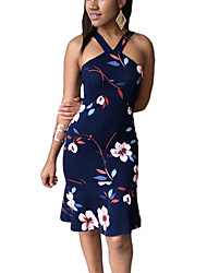 Women's Floral Patterns Party Club Holiday Sexy Boho Sheath Dress V Neck Knee-length Sleeveless Ruffle Backless Fishtail Spring Summer High Rise