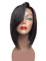 New Fashion Brazilian Virgin Hair Bob Wigs Straight Hair Lace Front Human Hair Wigs with Side Bang Short Virgin Hair Wig for Woman