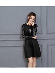 Korean Women autumn and winter dresses in lace dress round neck knit dress bottoming Dress