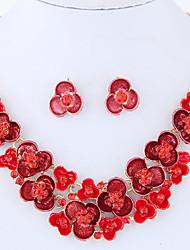 Jewelry Set Rhinestone Euramerican Fashion Vintage Alloy Flower Necklace Earrings