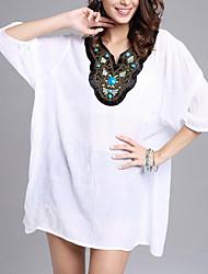 Damen Solide Einfach Lässig/Alltäglich T-shirt,V-Ausschnitt Sommer ¾-Arm Polyester Mittel