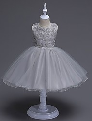 BONJEAN A-line Knee-length Flower Girl Dress - Organza Jewel with Bow(s) Lace