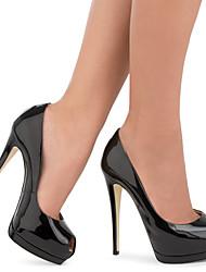 Women's Sexy Black Patent Leather High Heel Platform Pumps Ladies Peep Toe Extreme Heel Shoes 2017 Plus Size Spring Summer Autumn Shoes