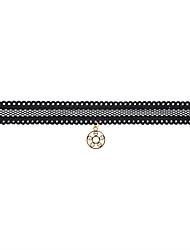 Fashion Women Trendy Flower Shape   Lace Choker  Pendant Necklace