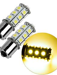 2pcs 1156 18 * 5050 smd levou a luz morna do bulbo da luz do carro dc12v