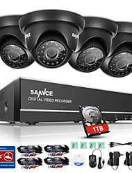 SANNC® 8CH 4PCS 720P HD Camera 1080N DVR Weatherproof Security System Easy Mobile Monitoring 1TB