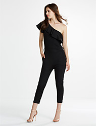 Women's Off The Shoulder Ruffle Going Out Solid Jumpsuits Simple Street chic One Shoulder Short Sleeve