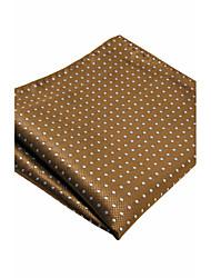 YH16  Handmade Men's Pocket Square Handkerchiefs Brown Dots 100% Silk Classic Unique  Jacquard Woven New