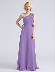 LAN TING BRIDE Floor-length Chiffon Bridesmaid Dress - Sheath / Column One Shoulder Plus Size / Petite