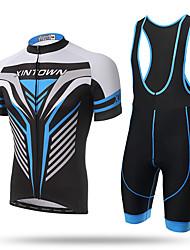 XINTOWN® Mens Short Sleeve Cycling Jersey 3D Padded Bib Short Set Quick-dry Polyester Summer Spring Short Bib Set Iron Man Blue Sky