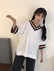Tee-shirt Femme,Couleur Pleine Sortie simple Manches ¾ Col en V Coton