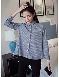 Women's Casual/Daily Simple Shirt,Check Shirt Collar Long Sleeve Cotton