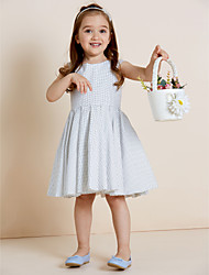 A-line Knee-length Flower Girl Dress - Cotton Jewel with Draping