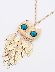 Metal Owl Tassel Leaves Gold Africa Pendant Sweater Chain Necklace Women Office Lady Jewelry