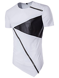 Men's Sports Casual/Daily Street chic T-shirt,Color Block Round Neck Short Sleeve Polyester