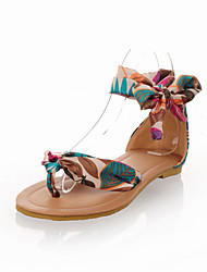 Women's Sandals Summer Club Shoes Comfort Fabric Customized Materials Dress Casual Flat Heel Lace-up Blue Yellow Black