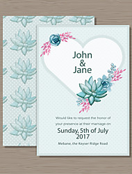 Personalized Flat Card Wedding Invitations Invitation Cards-50 Piece/Set Artistic Style Flora Style Pearl Paper