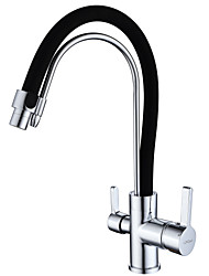 Art Deco/Retro Modern Standard Spout Centerset Widespread with  Ceramic Valve Single Handle One Hole for  Chrome , Kitchen faucet