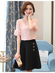 Damen Punkt Einfach Lässig/Alltäglich T-shirt,Rundhalsausschnitt ½ Länge Ärmel Polyester