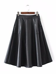 Women's High Rise Above Knee Skirts,Simple A Line Solid