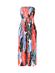 Women's Sexy High Rise Casual/Daily Beach Jumpsuits Simple Boho Wide Leg Backless Floral Summer