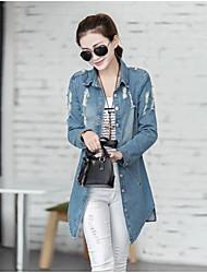 Veste en jean Femme,Couleur Pleine Décontracté / Quotidien simple Printemps Manches longues Revers en Pointe Long Coton