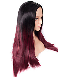 Long Black To Red Ombre Color Straight Wig African American Heat Resistant Synthetic Wigs 24 inch